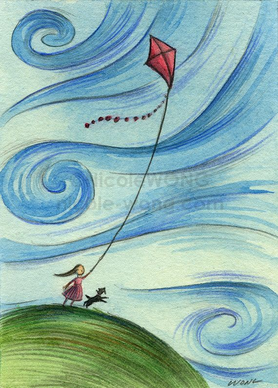 "Original collectible ACEO art - pencil drawing & watercolor painting - ""Windy kite flying"""