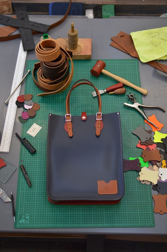 The Tote and some of the tools of the trade - fancy coming to our workshop to make one?