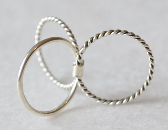 Twisted Triple Layer Stacking Ring in Sterling Silver by ShopZYLA