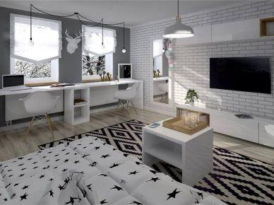 Biały, czarny i szary w aranżacji pokoju dla nastolatki (49289)