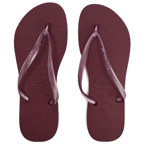 Havaianas Women's Slim Flip Flops (110 ILS) ❤ liked on Polyvore featuring shoes, sandals, flip flops, purple, toe thongs, flat flip flops, rubber shoes, havaianas sandals and toe post sandals
