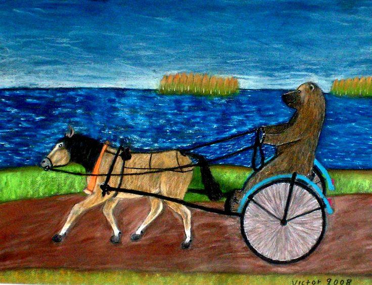 Nalle tränar hästen, pastell på papper. Nalle training the horse, pastel on paper.