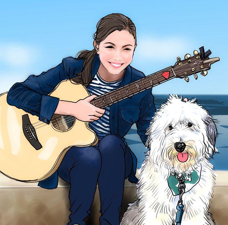 セレイナ(@celeinaann)とそら #似顔絵 #イラスト #セレイナ #そら #ZIP #あおぞらキャラバン #caricature illustration #celeinaann