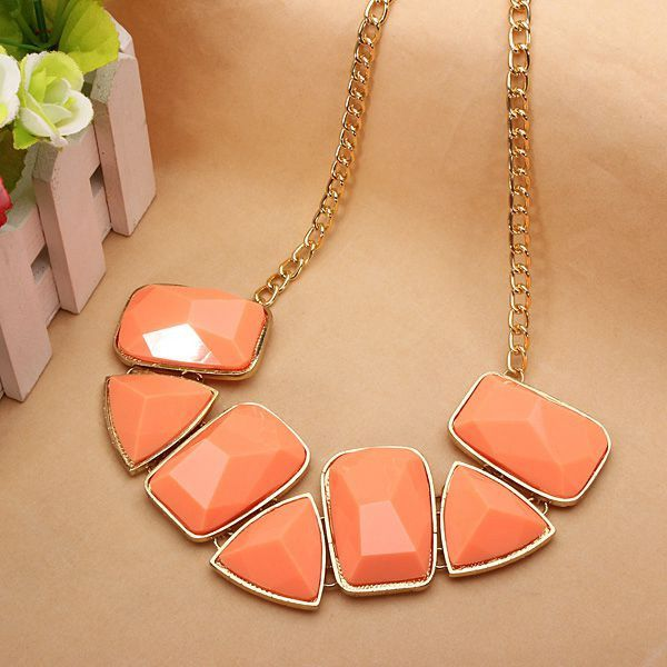 Acrylic Geometric Stone Statement Necklace Metal Chain Necklace