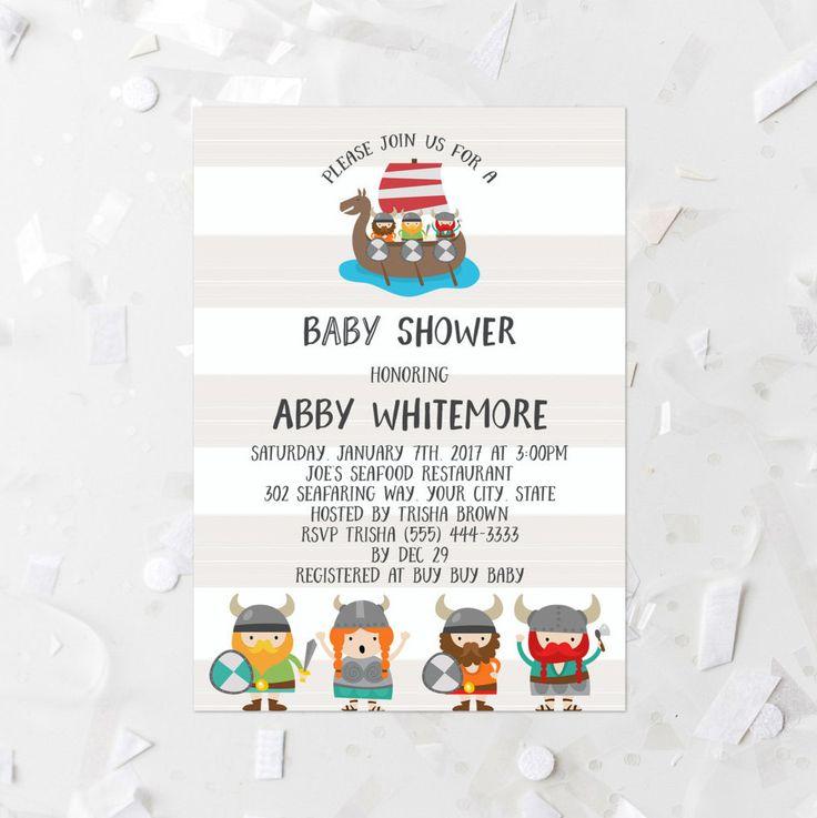 Viking Ship Baby Shower Invitation Printable 5x7 Boy Viking Baby Shower Invite Nordic Baby Shower Invite Viking People Viking Ship Stripe by MossAndTwigPrints on Etsy