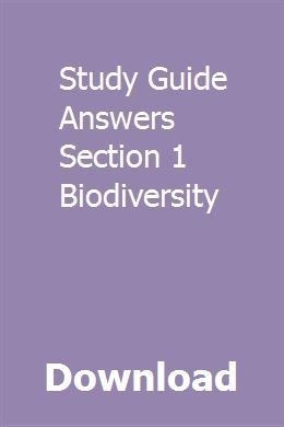 study guide answers section 1 biodiversity