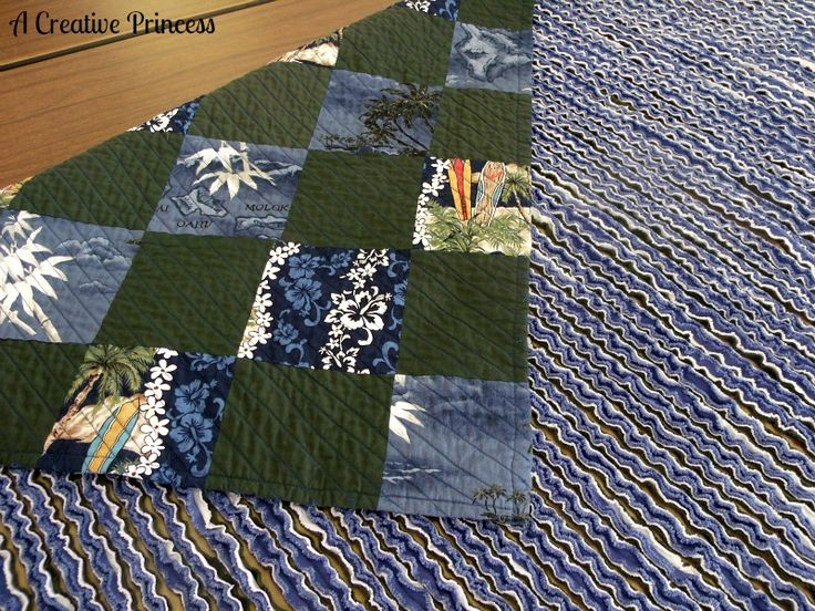 Patchwork/Faux Chenille Quilt ~    The back of the quilt is faux chenille. The patchwork is made out of Hawaiian shirts.    How To @  http://acreativeprincess.blogspot.com/2013/01/patchworkfaux-chenille-quilt.html?utm_source=feedburner_medium=email_campaign=Feed%3A+ACreativePrincess+%28A+Creative+Princess%29