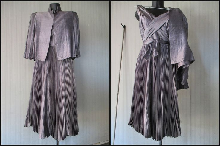 Abito grigio plissè e blusa anni 60.Seta.Tg 42/Great 60s grey silk outfit/Sleeveless dress/Xcross neck/Plissè skirt+blazer/Tayolored/Size 8 di FermataDautobus su Etsy