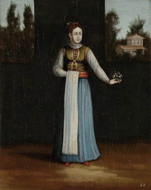 Albanian lady. Ottoman Illustrations from: Paintings by Jean-Baptiste Vanmour (Van Mour), 1671-1737