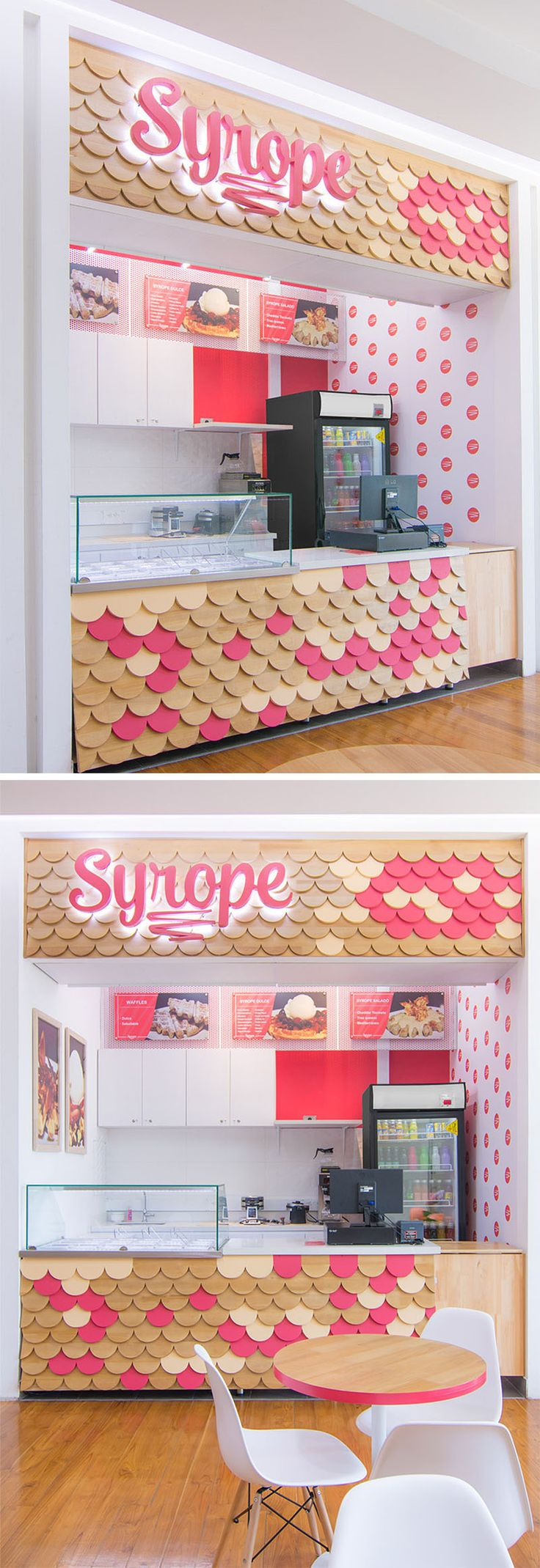 This retail storefront features a bright and colorful design, with a textural scalloped patterned facade made from wood, with some of the pieces painted pink to match the logo, while the remainder of the storefront is white with just a few touches of pink.