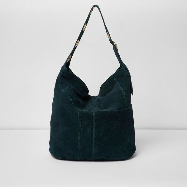 River Island Dark green suede eyelet underarm slouch bag (£105) ❤ liked on Polyvore featuring bags, handbags, bags / purses, green, shopper & tote bags, women, suede handbags, hand bags, green suede handbag and slouchy purse