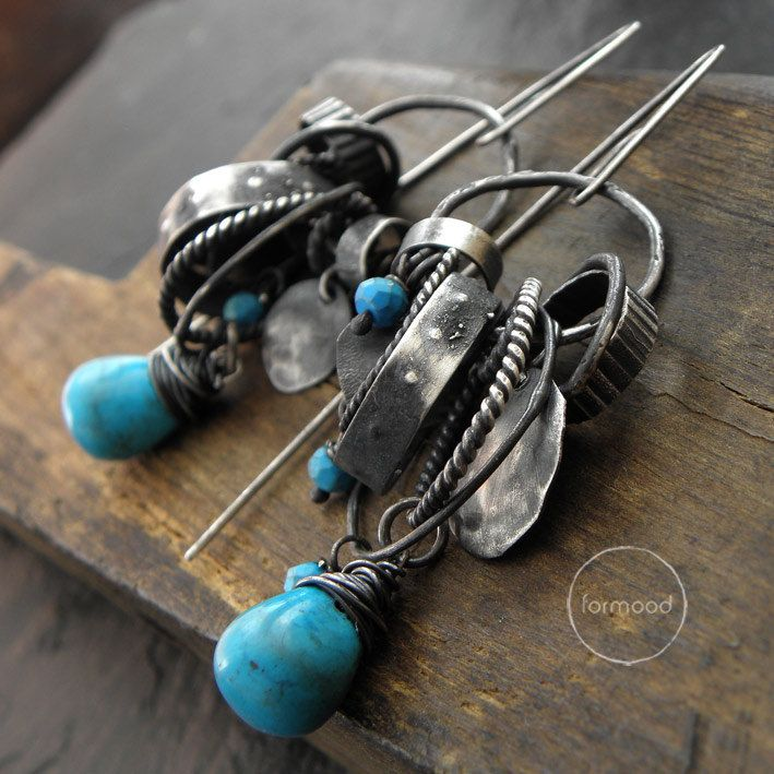 Earrings raw sterling silver and Turquoise hoop by studioformood