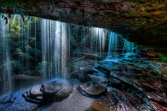 Sparkling Falls by Ian English Brisbane Waters National Park, near Gosford NSW Australia