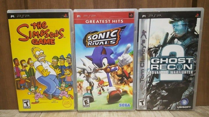 The Simpson S Game Sonic Rivals Ghost Recon Advanced Warfighter 2 These Are Untested As I Do Not Have A Psp T Retro Game Store The Simpsons Game Game Sonic