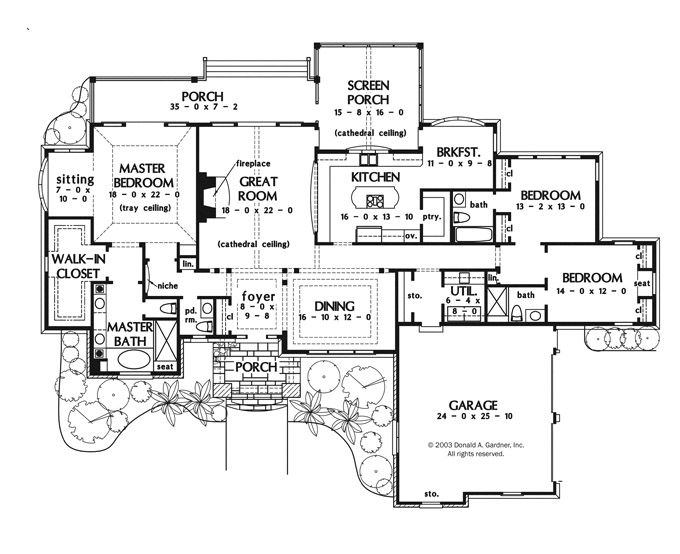 one story house plan huge master bedroom with sitting and wic screened in porch - Large House Plans
