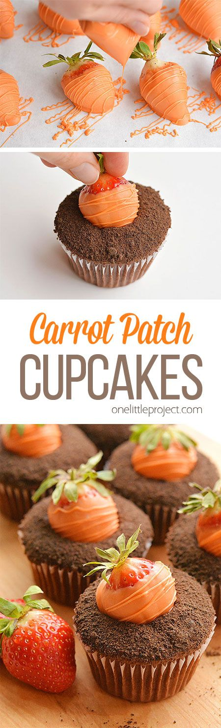 These easy carrot patch cupcakes with strawberry carrots are so cute and so simple to make! They are fantastic for an Easter dessert, or even a spring birthday party! They're fun to make and the kids love them! Such a great Easter treat!