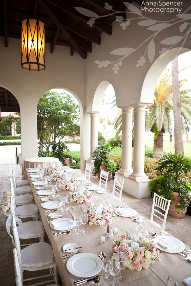 Wedding reception estate table on the Ocean