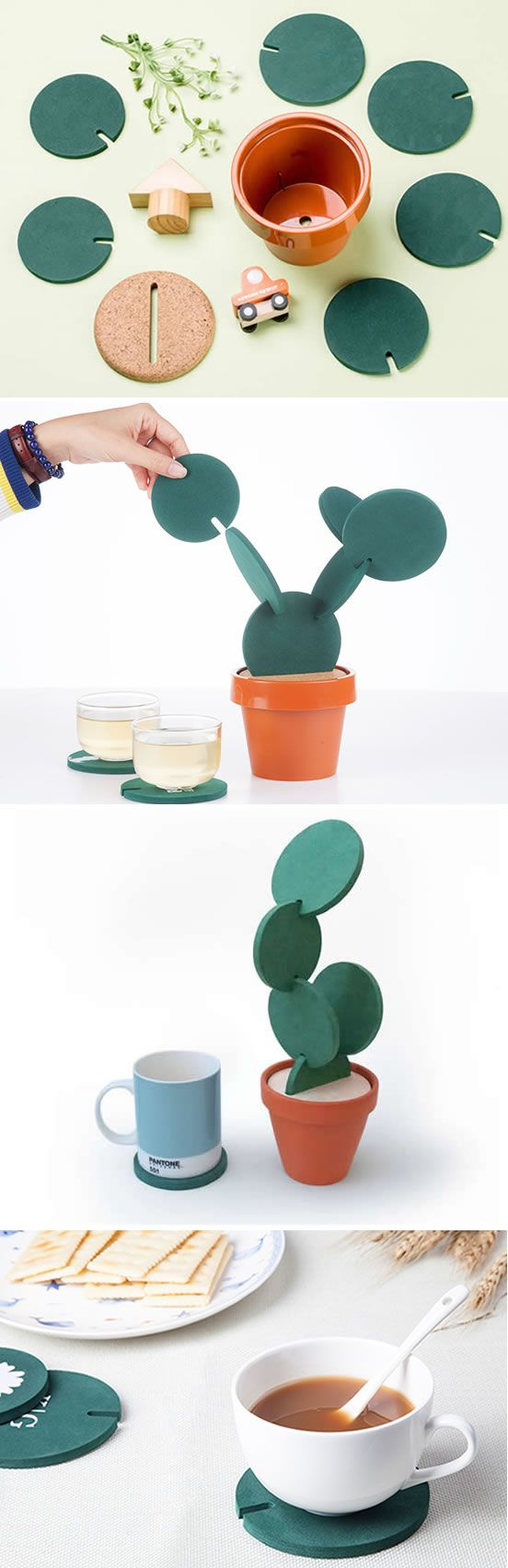 Cactus Coasters Set by Designer Clive Roddy on Etsy is a clever way to store you...