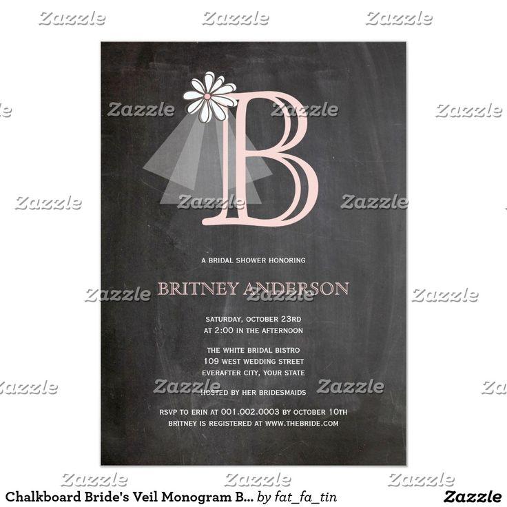 monogram wedding envelope seals sticker%0A Chalkboard Bride u    s Veil Monogram Bridal Shower Card Elegant Chalkboard  Bridal Shower Invitation Templates  Classy