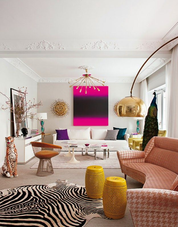 Living room designed by Alia's Living Pink studio. Love how the original  moldings, kitchen tiles and other architectural details have been  scrupulously ...