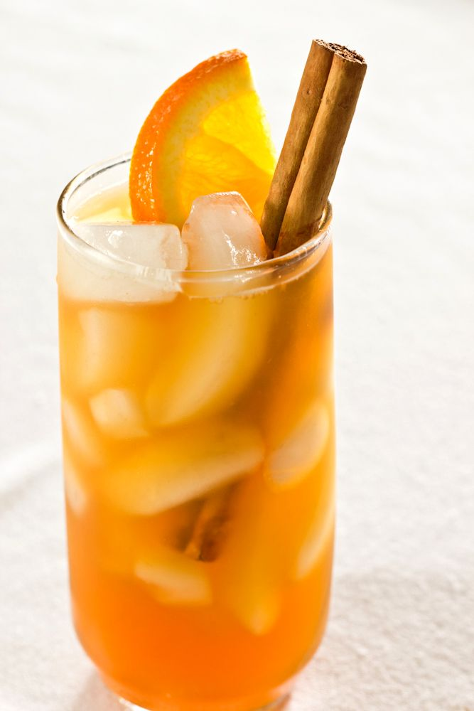 Cinnamon-Spiced Iced Tea: 8 cups filtered water, 2 (1-inch) cinnamon sticks, ½ cup sugar, 3 large or family sized black tea bags, ¾ cup orange juice, ¼ cup lemon juice, 1 orange (sliced into 6 slices, optional), cinnamon sticks for garnish (optional) and ice for serving. (Click on picture for recipe)