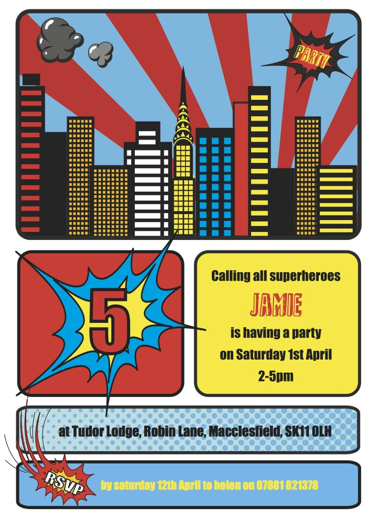 24 best images about Superhero Invitation Card – Superhero Party Invitation