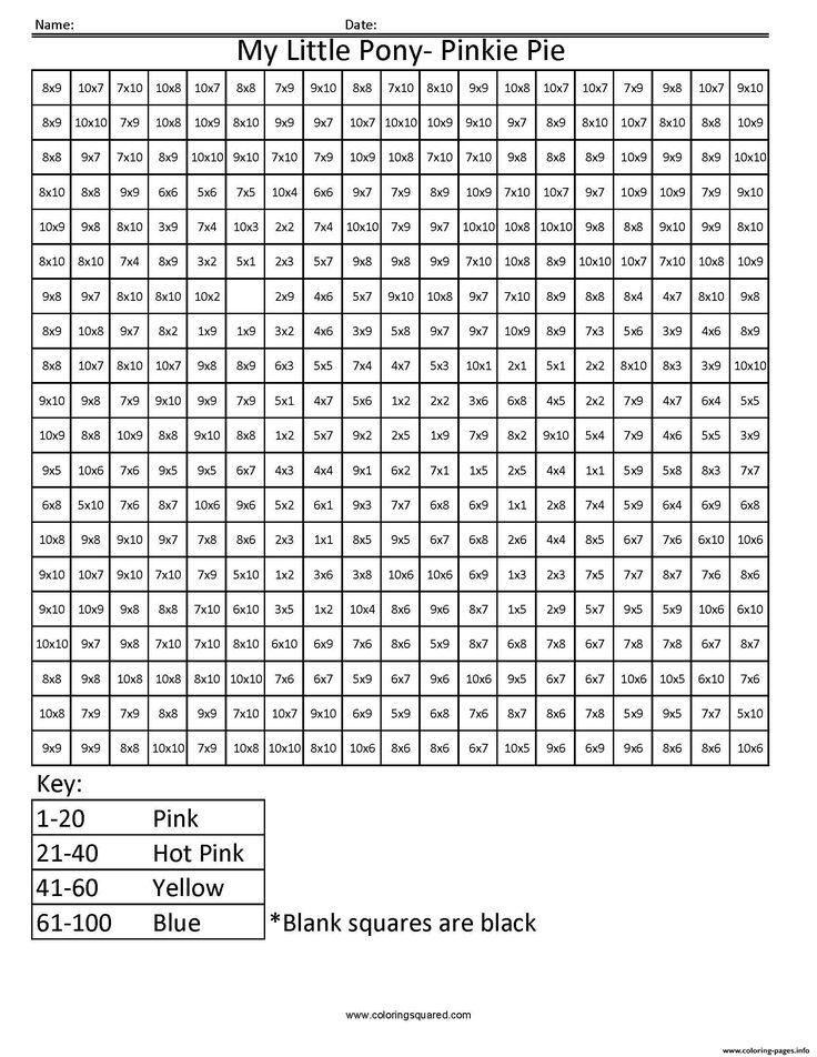 print my little pony cartoon worksheet multiplication pixel art coloring pages education. Black Bedroom Furniture Sets. Home Design Ideas