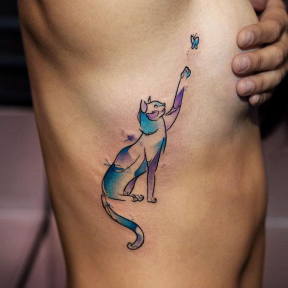 Watercolor Cat Tattoo by Georgia Grey
