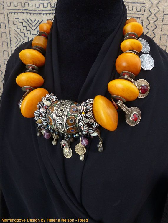 RESERVED Moroccan Berber inspired amber resin bicones necklace, enameled silver beads and coins
