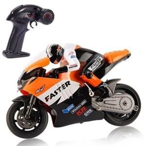 RC Motorcycle – Top Race 4 Channel RC Remote Control Motorcycle Goes on 2 Wheels with Built in Gyroscope, 1:10 Scale Clear the floors in the house because this rider is coming through. All that you do is pull the trigger, control it from the side, and watch it go. The speed is not too fast, but fast enough for a young one's excitement.  with this toy.