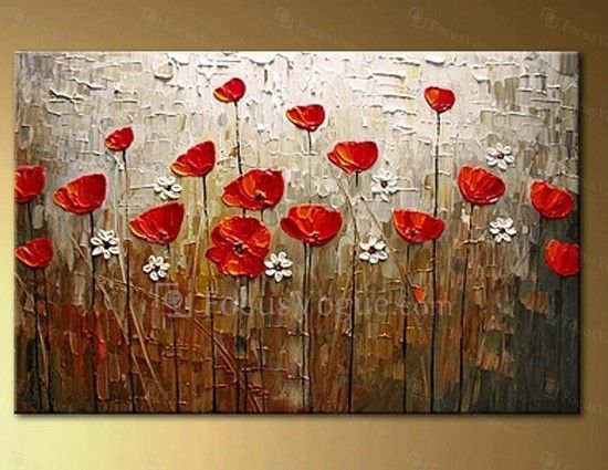 """Hand-painted Flower Oil Painting with Stretched Frame-16"""" x 20"""""""