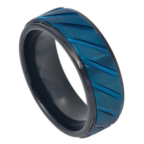 Men's Black Prussian Blue Tungsten Wedding Band Ring Satin 8mm Comfort Fit    eBay