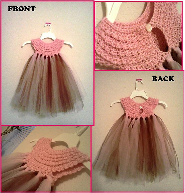 """Crochet a yoke and add tulle for a baby girl dress. Inspiration to make a similar dress for a American Girl 18"""" Doll."""