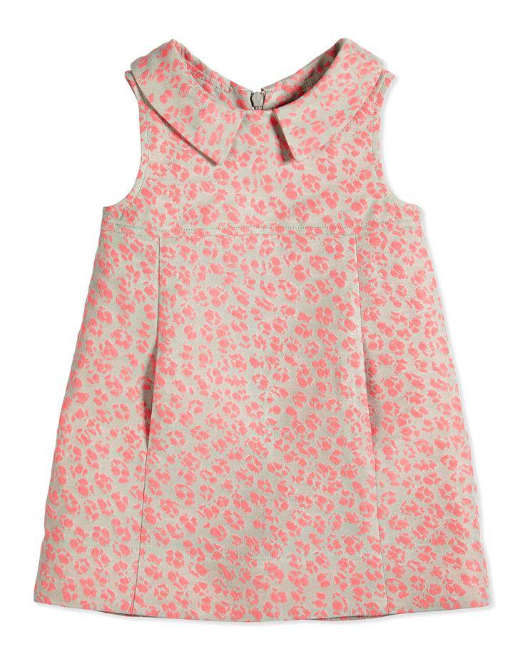 Sleeveless Animal Jacquard Poplin Dress, Pink, Size 2-6