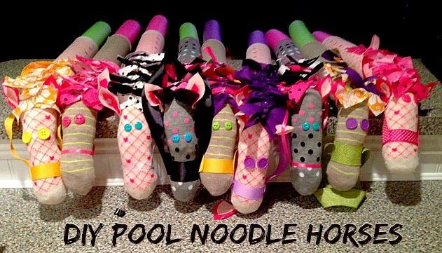 DIY Pool Noodle Horses!  Perfect stick horses for a cowboy or cowgirl party.  Or for a Sheriff Callie party!