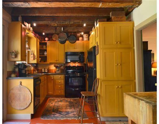Black Appliances Tavern Yellow Painted Cabinets Love It House Pinterest Beautiful