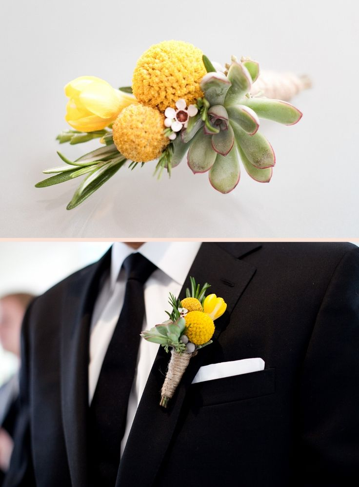 Love the Boutonierre  Succulent, Waxflower, Billy Balls, Rosemary and Freesia. Featured on SMP  flowers by Steven Bruce Design