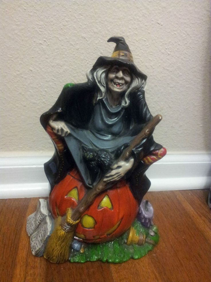 vintage 72 byron ceramic mold hand painted halloween witch sitting on pumpkin - Ceramic Halloween Decorations
