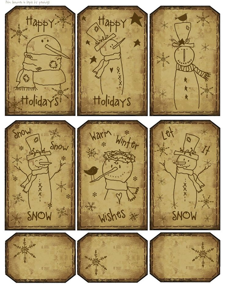 Christmas free labels primitive | 12 Prim Sepia Snowmen Hang Tags 'n' Collage Sheet - plus 6 Lil Tags ...