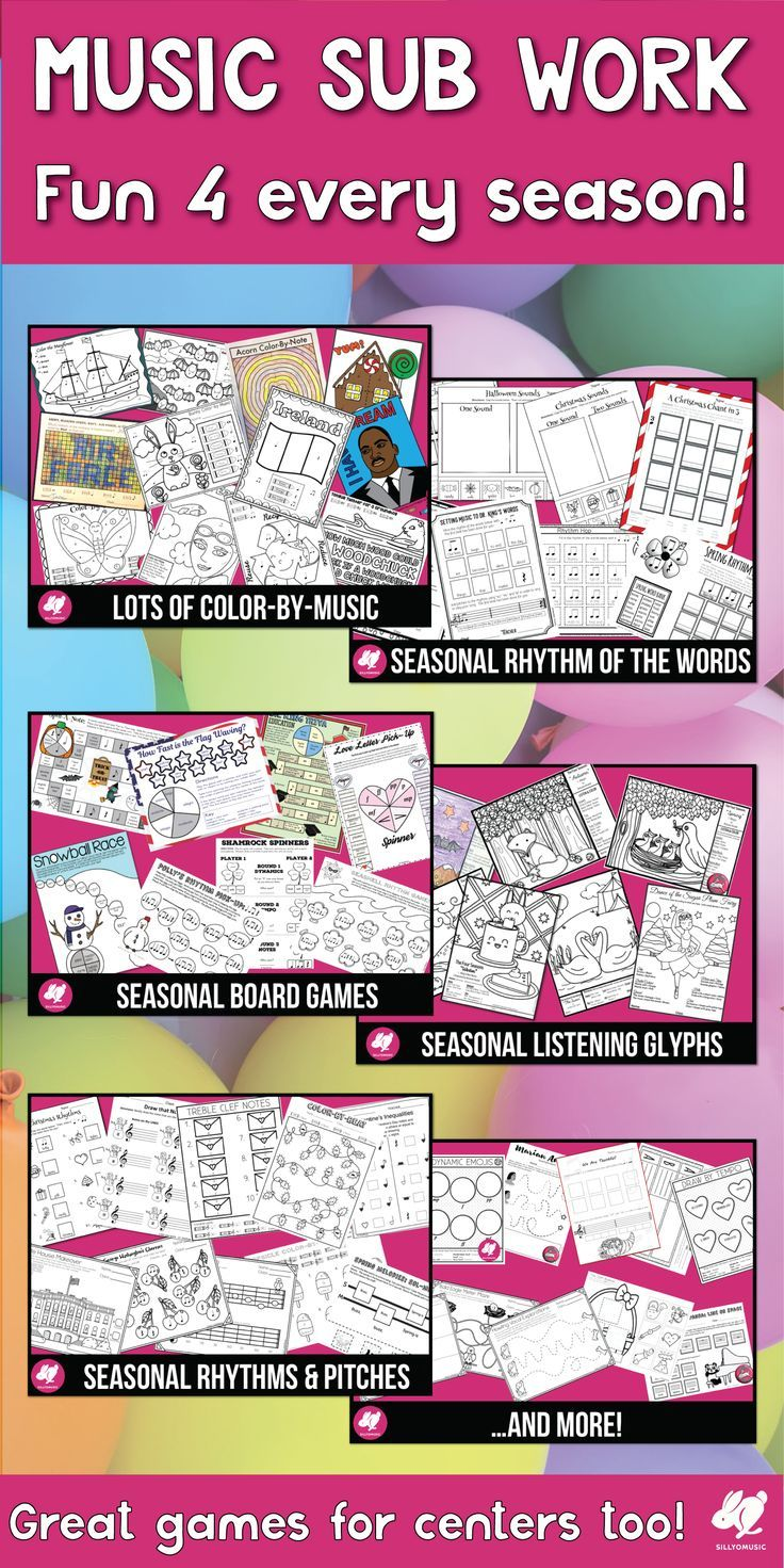 This no-prep music activity/worksheets set is a lifesaver when making sub plans and the music coloring pages will save the day when your schedule goes off the rails!  There are multiple activities for every major holiday during the school year and can be used year after year!