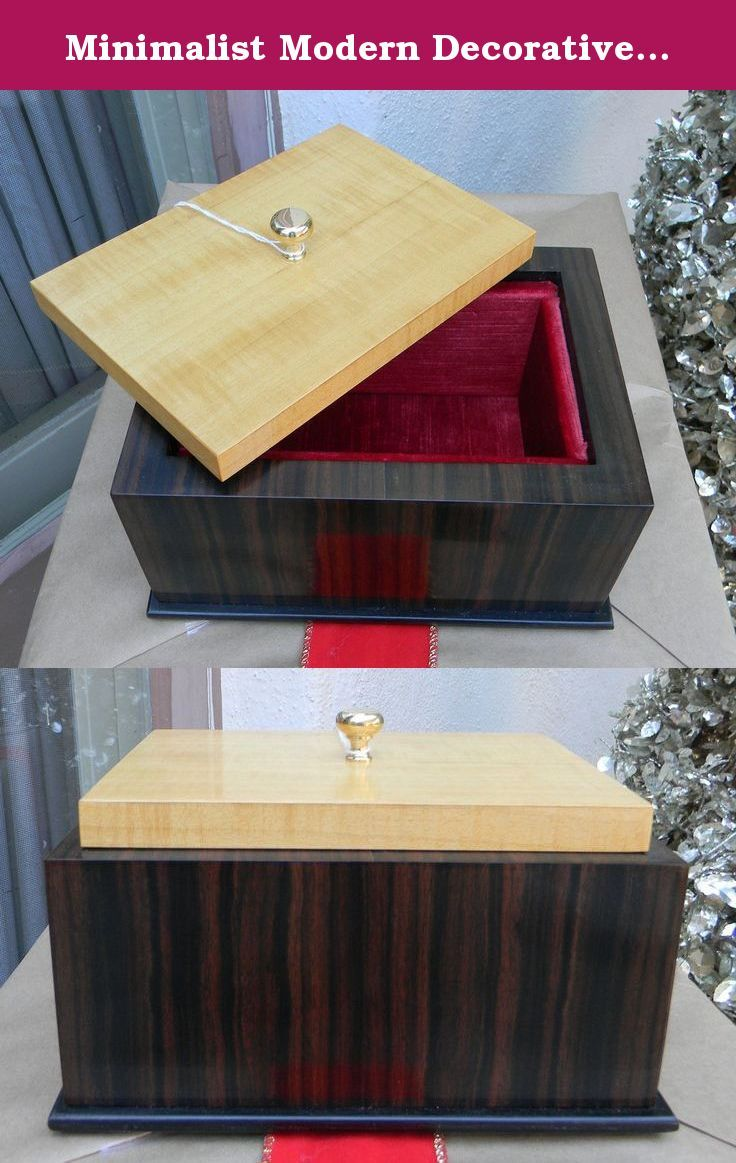 Minimalist Modern Decorative Box. This is a clean and striking jewelry/ decorative box perfect for a modern living room. Made of Macassar ebony and satinwood veneers over hardwood.