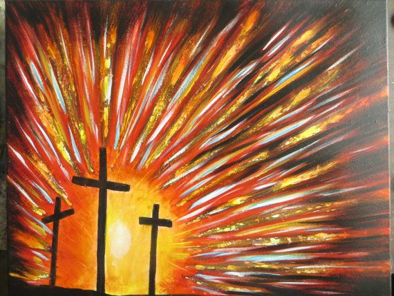 Mount Calvary 3 Crosses Painting 16 x 20 Acrylic on by TreeTownArt