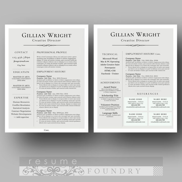 36 best Two Page Resume Template (CV Template) images on Pinterest