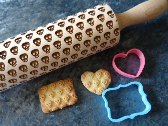 Skull / death's-head pattern rolling pins and cookie cutter from RollingPinsDesign on Etsy