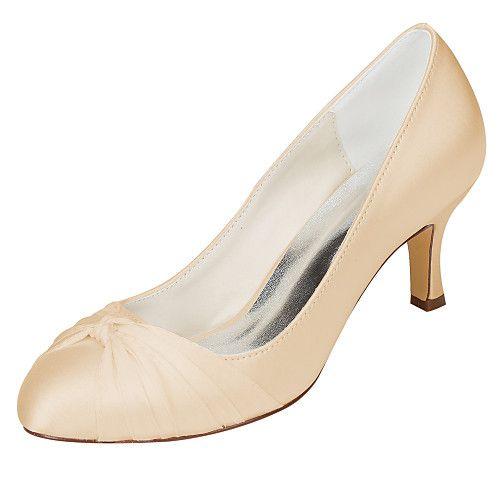 Women's Wedding Shoes Basic Pump Stretch Satin Spring Fall Wedding Party & Evening Bowknot Stiletto HeelIvory Champagne Dark Purple 2017 - $55.39