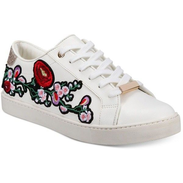 Aldo Women's Kinza Embroidered Lace-Up Sneakers (255 QAR) ❤ liked on Polyvore featuring shoes, sneakers, white, embroidered shoes, flower print sneakers, embroidered sneakers, white trainers and floral print sneakers