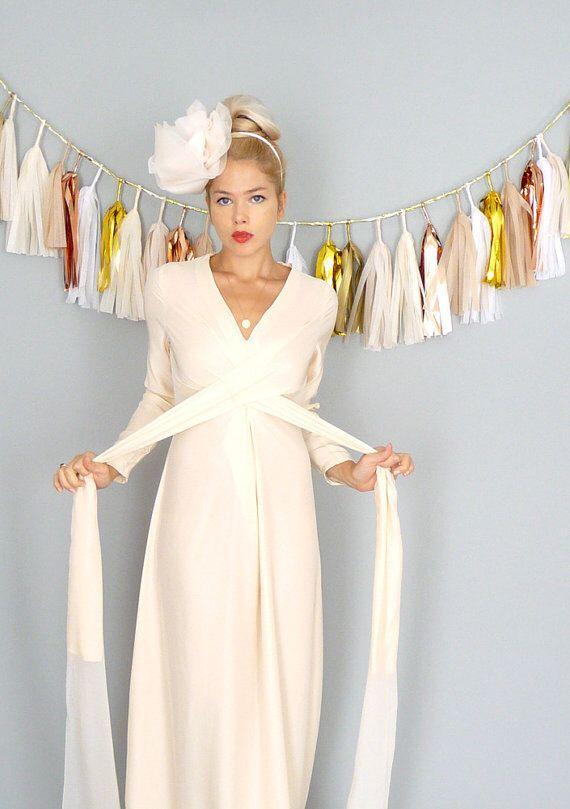 VIVIENNE: Wedding dress modern chic bohemian hippie beach chic blush silk long sleeves plus size 70s retro romantic by dahlnyc on Etsy https://www.etsy.com/listing/219456859/vivienne-wedding-dress-modern-chic