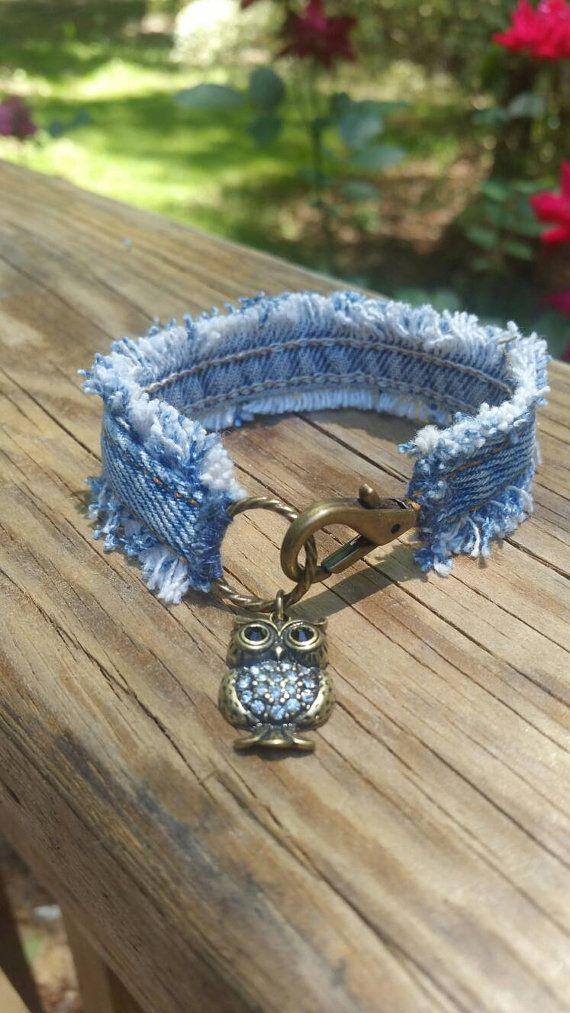 Denim Bracelet with Owl Charm von DenimReDooz auf Etsy                                                                                                                                                      Mehr