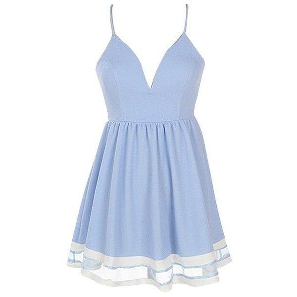 Light Blue Criss Cross Back Skater Dress ($29) ❤ liked on Polyvore featuring dresses, vestidos, short dresses, blue mini dress, skater dress, short blue dress and criss-cross back dresses