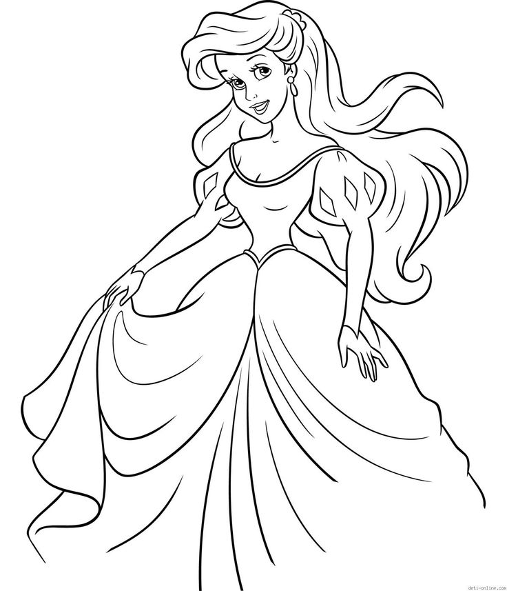 ariel in the dress coloring page - Coloring Pages Ariel A Dress
